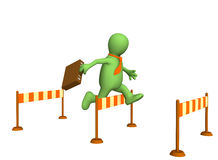 3d businessman - puppet, jumping through a barrier. Objects over white Royalty Free Stock Image