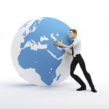 3d businessman pushing earth globe. Isolated on white Royalty Free Stock Photos