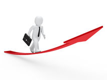 3d businessman run red arrow. 3d business man run on red arrow Stock Image