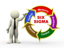 3d businessman and six sigma flowchart Royalty Free Stock Photo