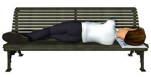 3d businessman sleeping on the bench. Businessman sleeping on the bench, no job, no hope, now what Stock Images