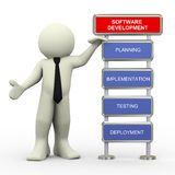 3d businessman and software testing. 3d render of man standing with process of software beta testing Stock Images