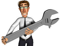 3d businessman spanner cartoon. Businessman spanner cartoon, he can fix your business Stock Photo