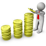 3d businessman with stock of dollar coins Royalty Free Stock Images