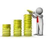 3d businessman with stock of dollar coins Stock Images