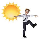 3d businessman sun. The 3d businessman character is dancing under the sun Royalty Free Stock Photography