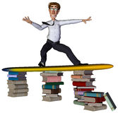 3d businessman surfing books. The businessman is surfing on books Stock Photos