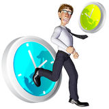 3d businessman time pass by. 3d businessman character in the time pass by Stock Photo