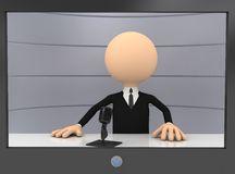 3d businessman in TV. Computer generated image Royalty Free Stock Photography