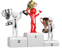3D businessman white people. Winner on podium. 3d white business person on the the podium with trophies. 3d image. Isolated white background. Business people on Stock Photography