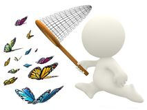 3D butterfly hunt Stock Image