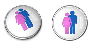 3D Button Couple Pictogram. Pink and blue Stock Photography