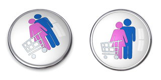 3D Button Couple Shopping. 3D button couple with shopping cart/trolley - silver gray/grey Stock Photo