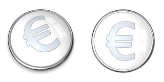 3D Button Euro Symbol. 3D button with Euro symbol � silver on white Royalty Free Stock Photography
