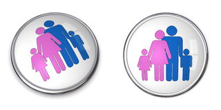 3D Button Family With Kids Pictogram. Pink and blue Royalty Free Stock Photo