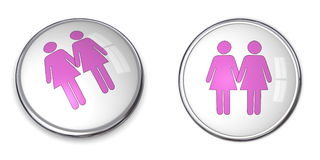 3D Button Female Couple Pictogram. Pink and blue Royalty Free Stock Images