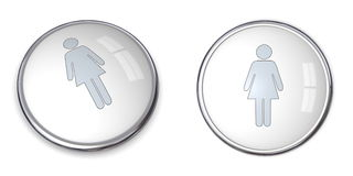 3D Button Female Pictogram. On white background - silver grey Royalty Free Stock Photo