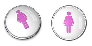 3D Button Female Pictogram Royalty Free Stock Photos