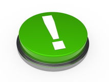 3d button green exclamation mark. 3d button green with white exclamation mark Stock Image