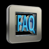3D button icon with FAQ Royalty Free Stock Photo