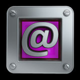 3D button icon with mail. Symbol isolated on black background High resolution Royalty Free Stock Photography