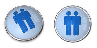3D Button Male Couple Pictogram. 3D button blue male couple pictogram on blue background Stock Photos