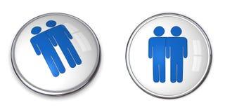3D Button Male Couple Pictogram. Blue Stock Images