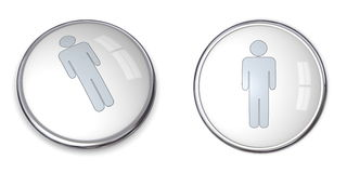3D Button Male Pictogram. Silver gray/grey - on white background Stock Photography