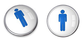 3D Button Male Pictogram. 3D button blue male pictogram on white background Stock Photos
