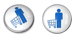 3D Button Man Shopping. 3D button man with shopping cart/trolley - blue on white background Stock Photography