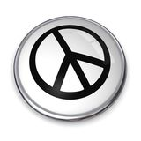 3D Button Peace Symbol. 3D button with forked peace symbol black on white Stock Images