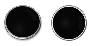 3D Button Solid Black. 3D button in solid black, front and side angle Royalty Free Stock Photography