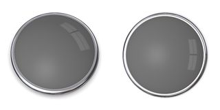 3D Button Solid Grey - 60%. 3D button in solid 60 percent grey, front and side angle Royalty Free Stock Photography