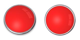 3D Button Solid Light Red. 3D button in solid light red, front and side angle Royalty Free Stock Photo