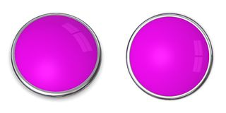 3D Button Solid Purple/Violet. 3D button in solid purple/violet, front and side angle Stock Images