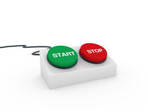 3d button start stop. 3d button stop start red green push switch Stock Image