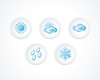 3d Button With Weather Icons Set. Royalty Free Stock Photo
