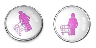 3D Button Woman Shopping. 3D button woman with shopping cart/trolley - pink on white background Royalty Free Stock Photos