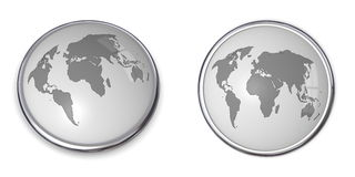 3D Button World Map Grey. 3D button with world map - gray/grey colour Royalty Free Stock Image