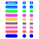3d Buttons. In 3 shapes and many colors for internet use Stock Image