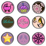 3D Buttons. Cute girly 3D Button Set Stock Images