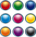 3D Buttons. In primary colors Royalty Free Stock Photos