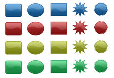 3D buttons. 3D colored shapes brushes for web design Royalty Free Stock Photos