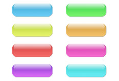 3D buttons. 3D colored shiny buttons for web design Royalty Free Stock Images