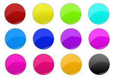 3D buttons. 3D circle colored buttons for web design Stock Images
