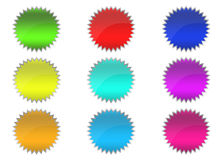 3D buttons. 3D colored stars buttons for web design Royalty Free Stock Image