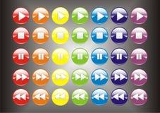 3d buttons den färgrika spelare Royaltyfri Bild
