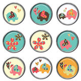 3D Buttons - Elephants. Cute elephant 3D buttons or brads Stock Photos