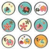 3D Buttons - Elephants. Cute elephant 3D buttons or brads Stock Illustration