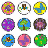 3D Buttons - Nature Set. Cute 3D buttons with natural elements Stock Image